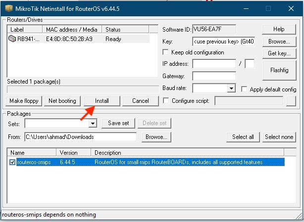 Proses Install Menggunakan Netinstall