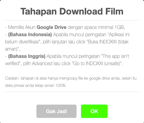 Tahapan Download Film IndoXXI